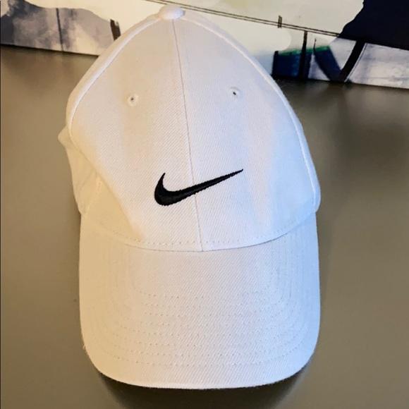 Nike White/Black Swoosh Structured Adjustable Hat